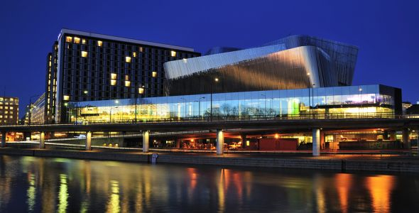 Stockholm, Sweden - Februari 2, 2012: SWEDEN - CIRCA 2012: Radisson Blue Stockholm Waterfront Hotel and Stockholm Waterfront Congress Hall near the railway Central Staion in Stockholm, Sweden, circa 2012.